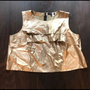 Faux leather gold tank with raw hemline